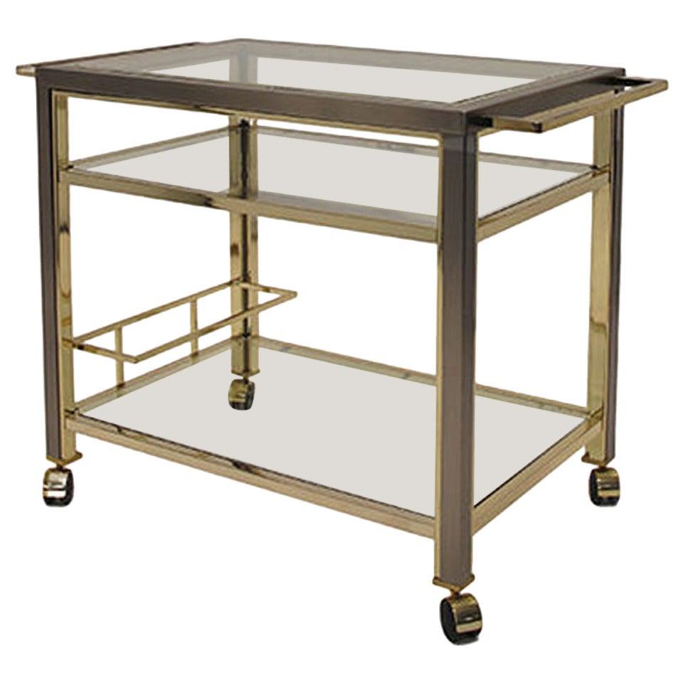 vintage gunmetal and brass bar cart at 1stdibs. Black Bedroom Furniture Sets. Home Design Ideas