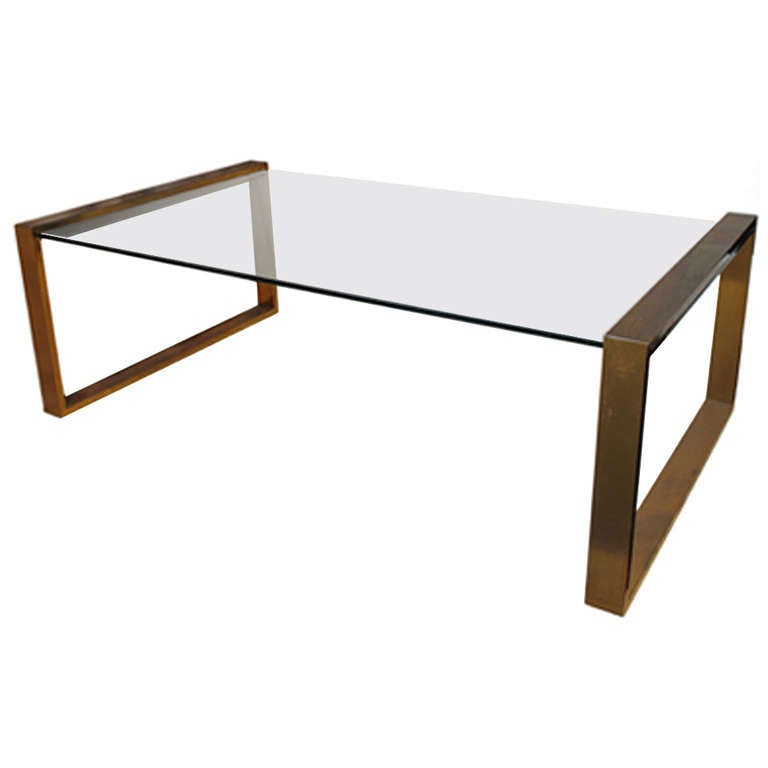 rectangular brass and glass coffee table at 1stdibs