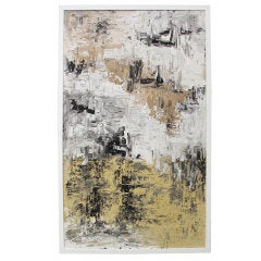 Large Abstract Painting in Black, White, Yellow and Beige