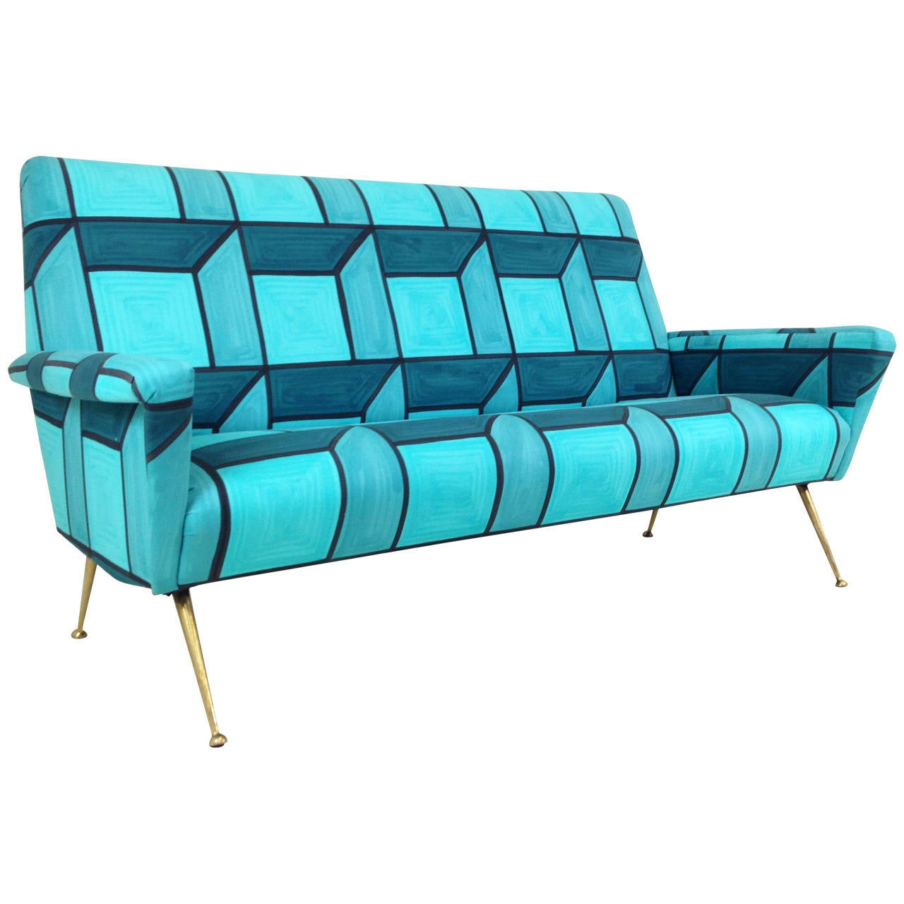 Mid-Century Sofa in Hand-Painted Blue Cube Pattern Livio de Simone Fabric 1