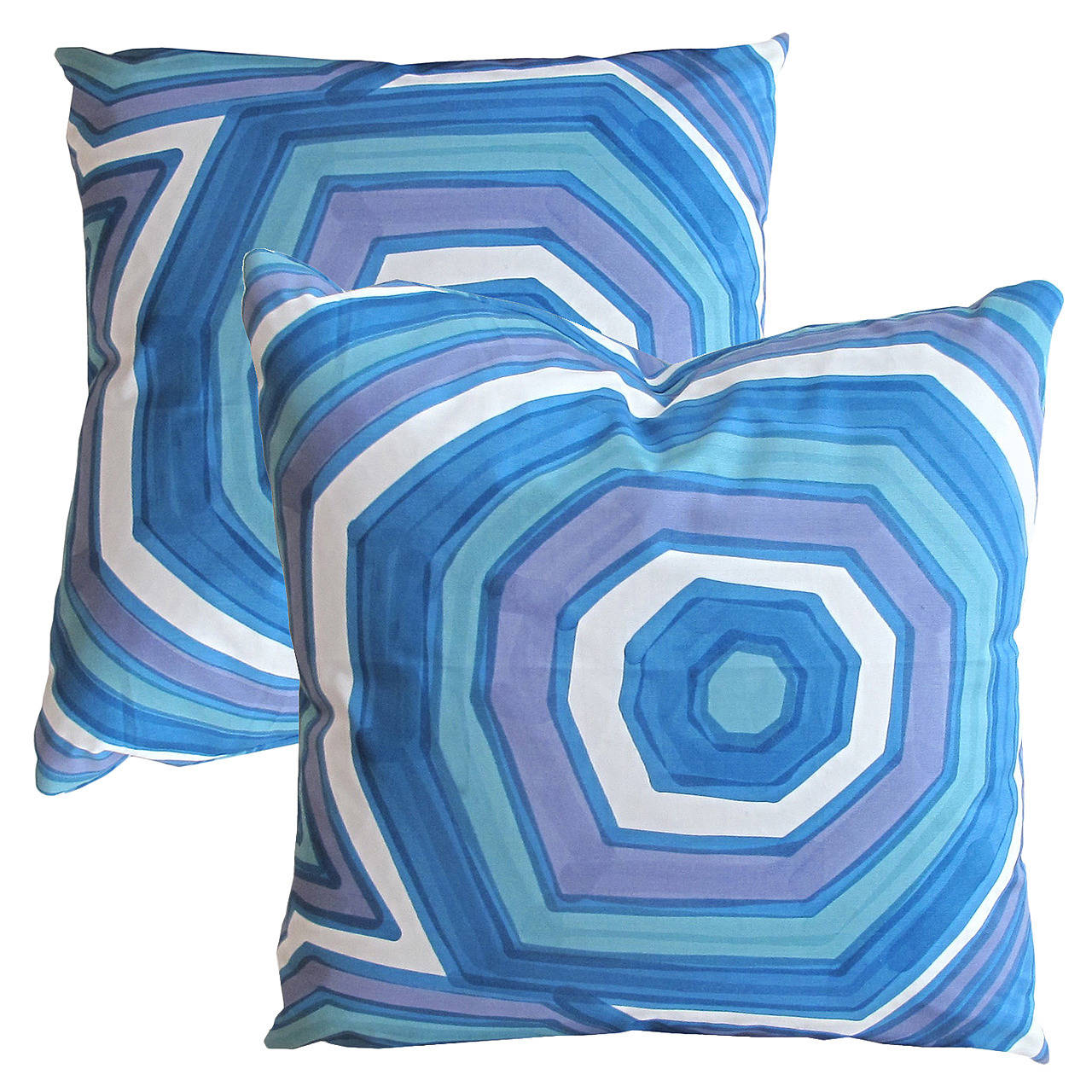 Blue geometric rings hand painted livio de simone pillow for Hand painted pillows