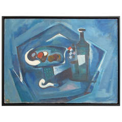Mid-Century Table Setting in Blue Painting