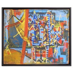 Mid-Century Geometric Abstract Oil Painting in Blue, Red and Yellow on Masonite