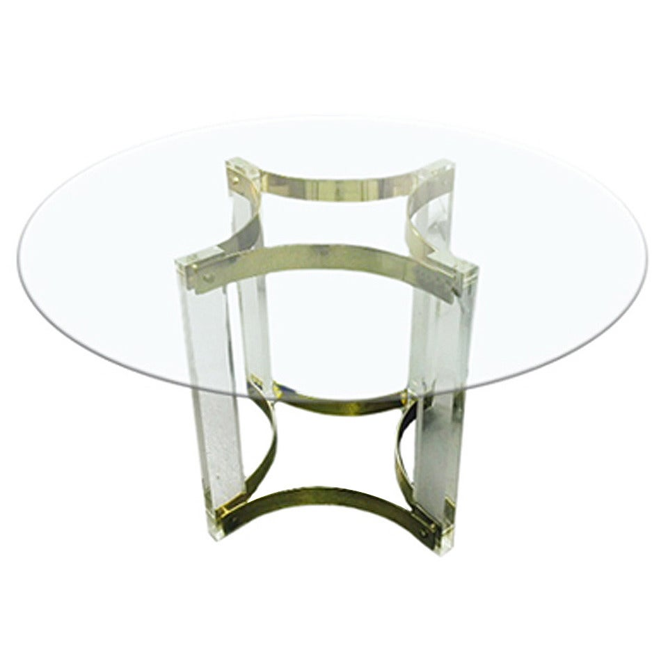 1970s French Lucite and Brass Pedestal Dining Table 1