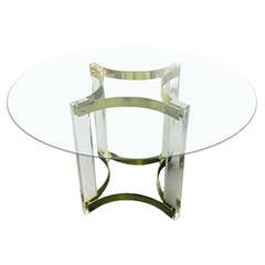1970s French Lucite and Brass Pedestal Dining Table