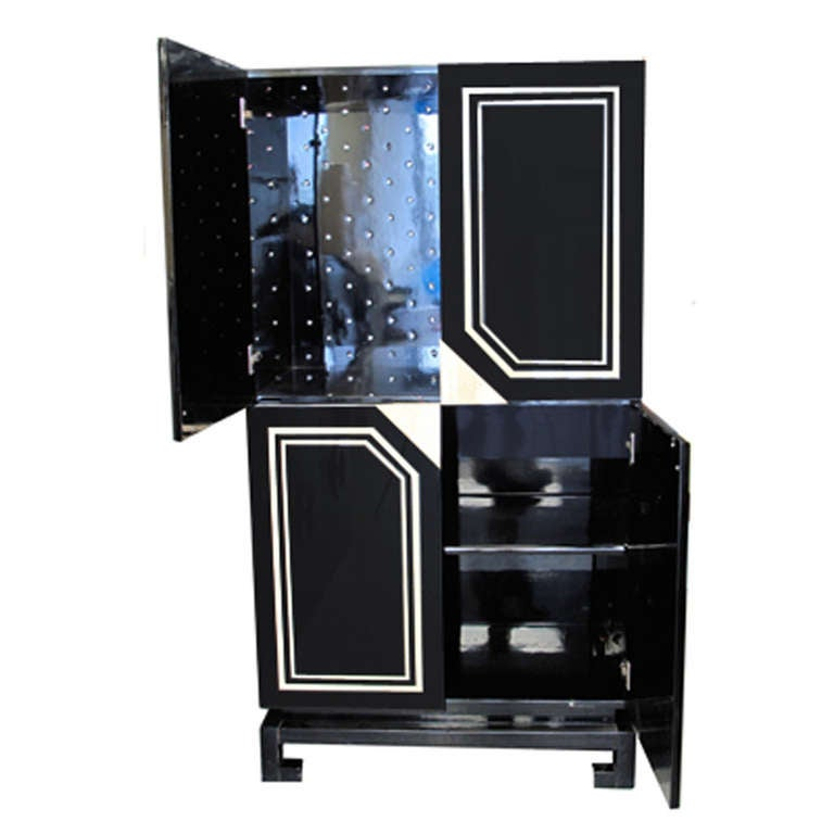 French Exceptional Black Lacquer Cabinet with Bone Inlay For Sale