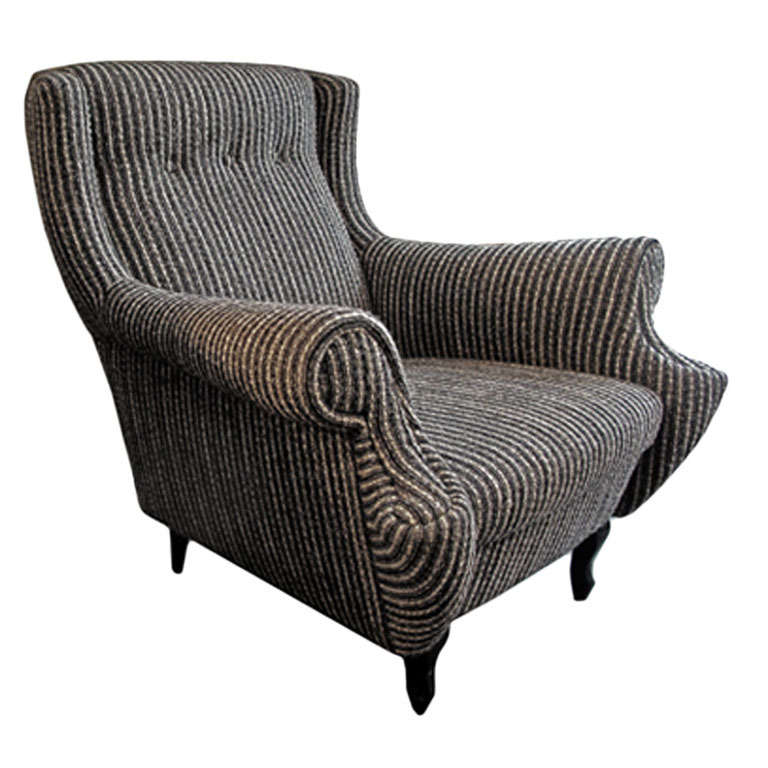 1950's Black And White Striped Boucle Rolled Armchair At