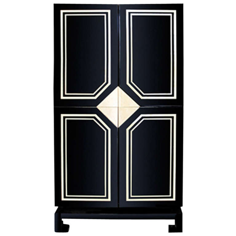 Exceptional Black Lacquer Cabinet with Bone Inlay For Sale