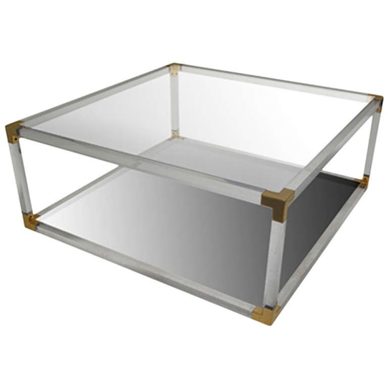 Vintage square lucite and brass coffee table at 1stdibs for Lucite and brass coffee table