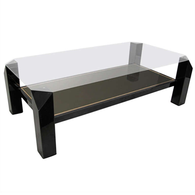 French 1970's Black Metal Cut Corner Coffee Table At 1stdibs