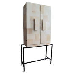 Mid-Century Italian Patchwork Parchment Cabinet on Cast Iron Legs