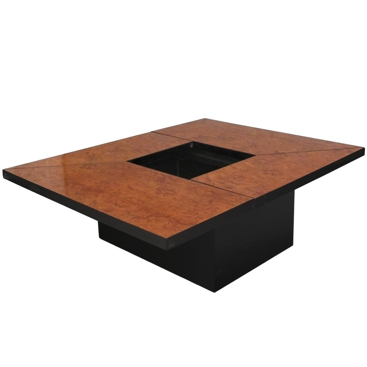 Burl wood expandable system coffee table for sale at 1stdibs One of a kind coffee tables