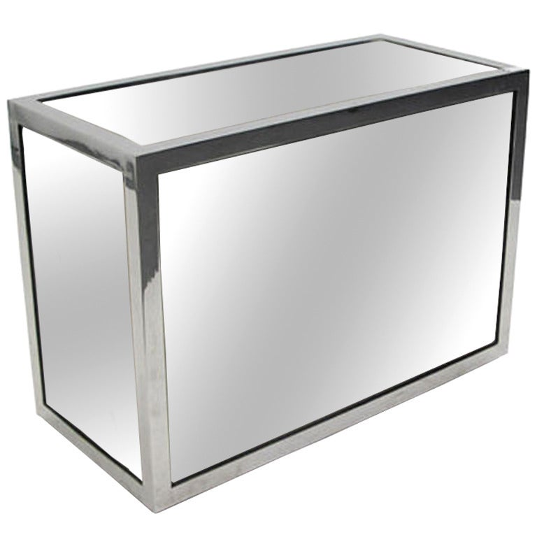 1970s Rectangular Mirror and Chrome Side Table For Sale
