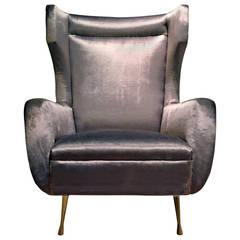 1950s Curved Velvet Wingback Armchair