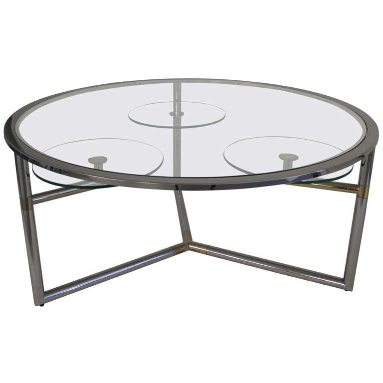 Vintage Round Brass And Chrome Coffee Table With Swiveling Shelves At 1stdibs