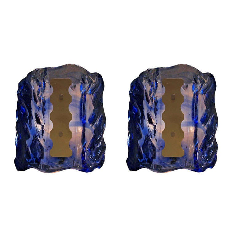 1950s Pair of Blue Wave Murano Sconces For Sale