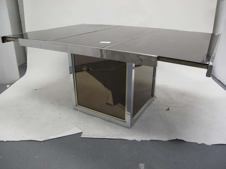 Mirrored Top Expandable Dining Table For Sale At 1stdibs