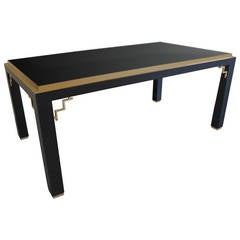 1970s Maison Jansen Black Lacquer Dining Table