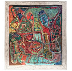 Vintage Colorful Figurative Abstract Painting