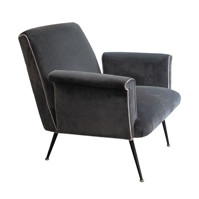 Italian 1960's Armchair with Square Cut-out Arm