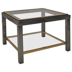 1970s Jansen Style Gunmetal and Brass Side Table