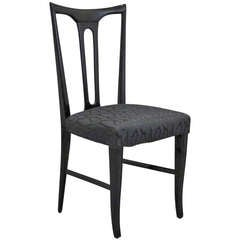 Mid-Century Italian Ebonized Occasional Chair in Black Patterned Satin