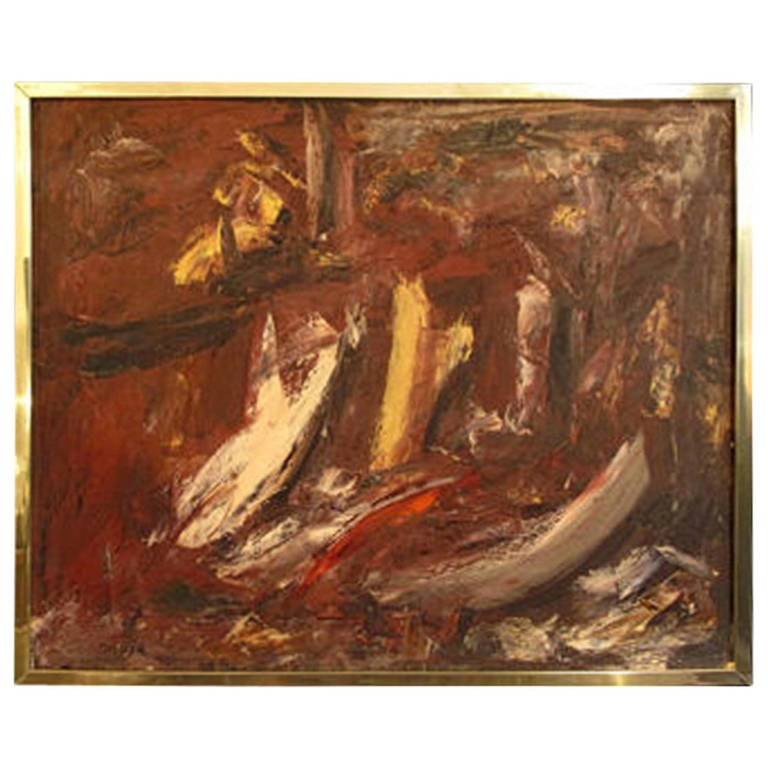 Red Abstract Painting in Brass Frame For Sale