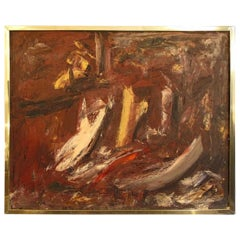 Red Abstract Painting in Brass Frame