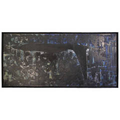 1960s Abstract Oil on Canvas in Blue, Black and Grey