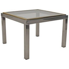 1970s Gunmetal and Brass Side Table