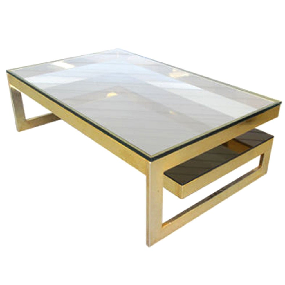 Classic Vintage French 55 Square Two Tier Brass Glass: 1970s Gold Two-Tier Coffee Table At 1stdibs