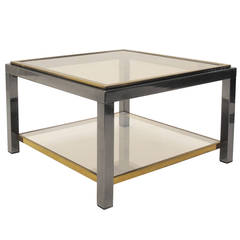 1970s Gunmetal and Brass Two-Tier Side Table