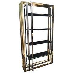 Impressive 1970s Interlocking Brass and Chrome Frame Bookshelf