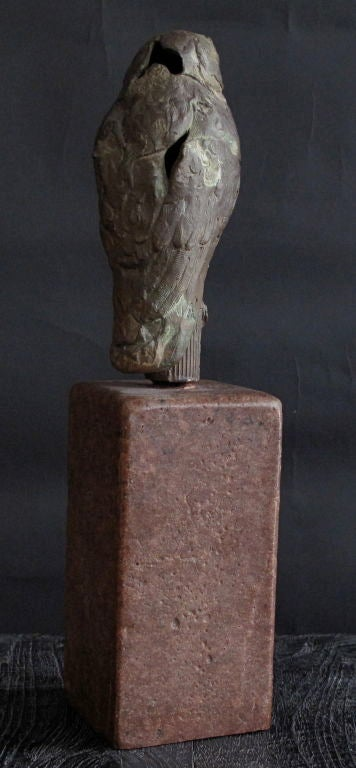 Red Bronze Stone : Vintage bronze owl sculpture on red stone base at stdibs