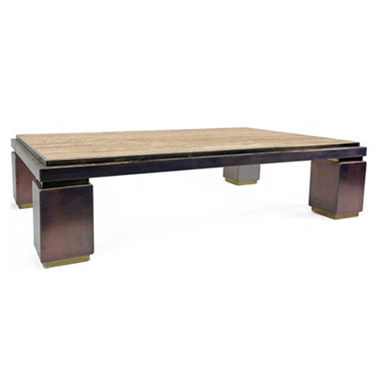Vintage Copper And Travertine Coffee Table At 1stdibs