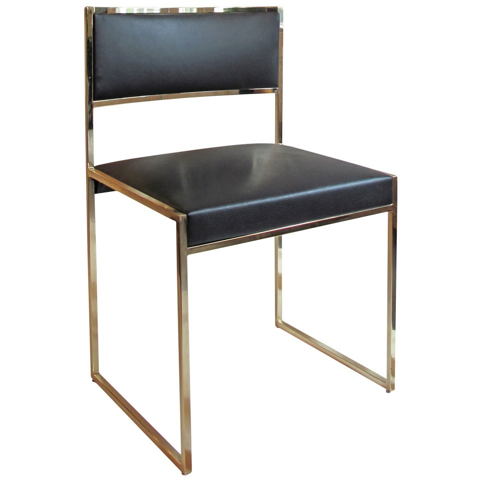Vintage brass and black leather dining chair at 1stdibs for Black leather dining room chairs
