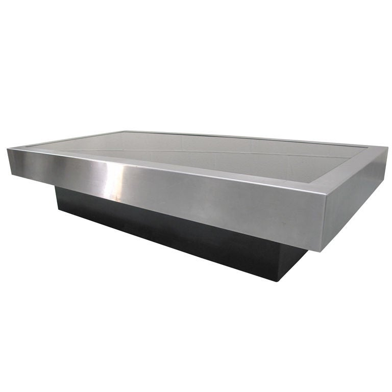 1970 39 s french chrome and black glass coffee table at 1stdibs Black and chrome coffee table
