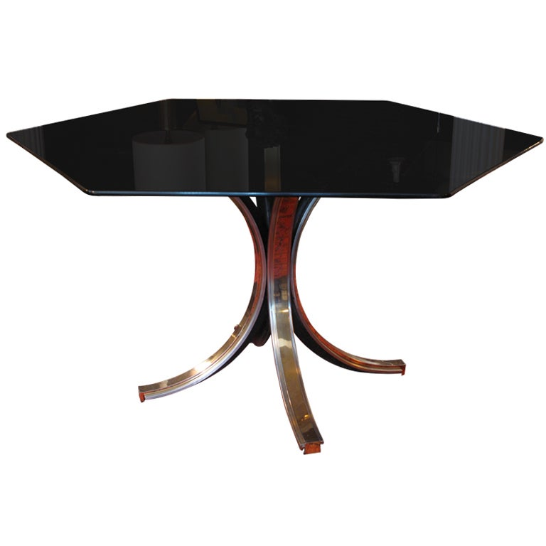 Chrome and Brass Tulip Base Dining Table with Smoke Glass  : XXXIMG8007 from www.1stdibs.com size 768 x 768 jpeg 24kB