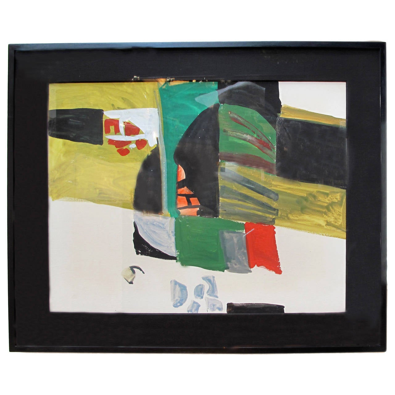 Mid-Century Abstract Oil in Green, Yellow, Red, and Black by Karl Mann For Sale