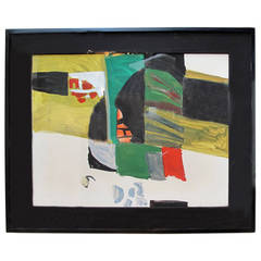 Mid-Century Abstract Oil in Green, Yellow, Red, and Black by Karl Mann