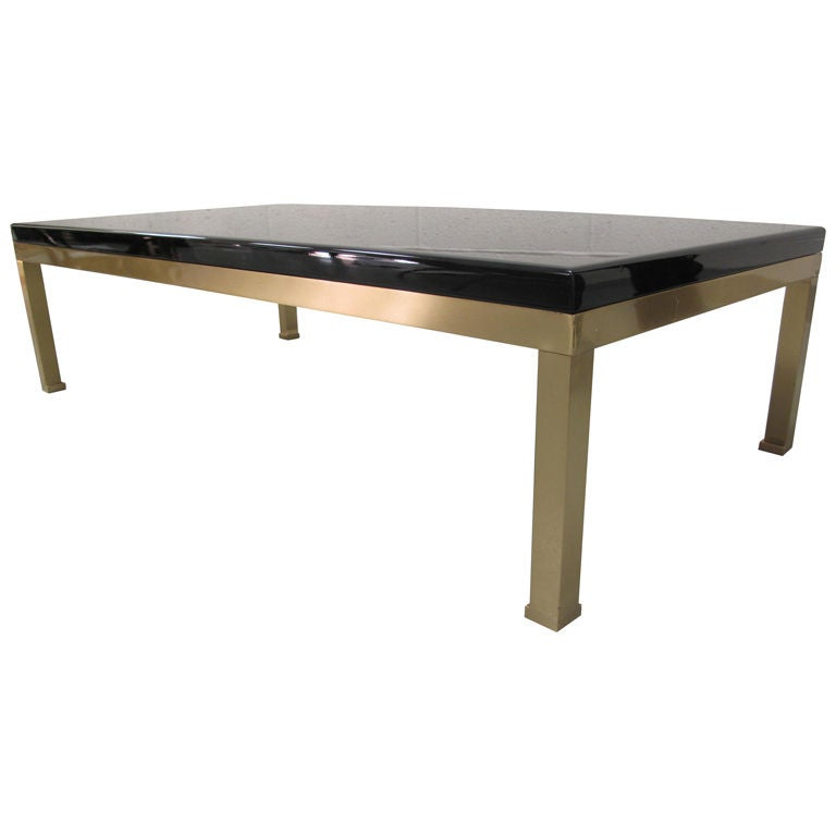 Vintage Black Lacquer And Brass Coffee Table At 1stdibs