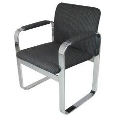 Chrome Armchair with Rounded Rectangular Frame