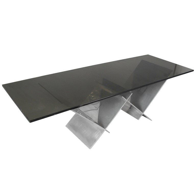 Interlocking Stainless Steel W Coffee Table With Glass Top At 1stdibs