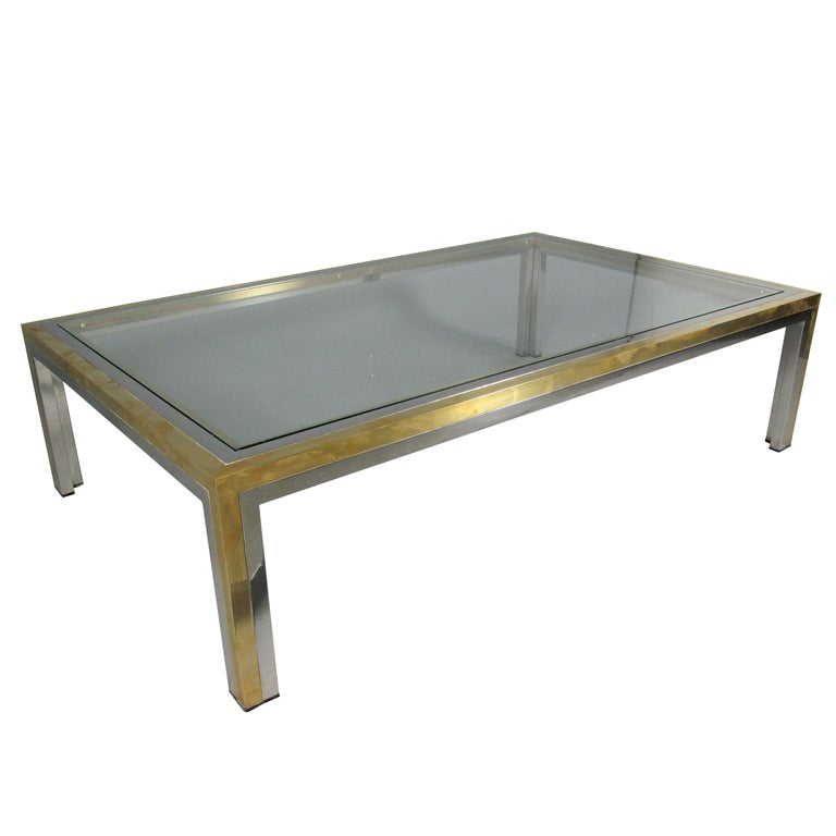 Brass and chrome low rectangular coffee table with inset for Rectangular coffee table with glass top
