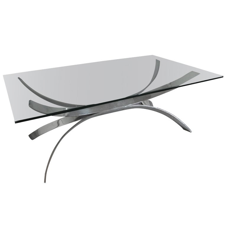 Chrome curved bands coffee table base with glass top at 1stdibs Glass coffee table base