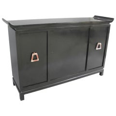 Black Lacquer Pagoda Style Bar Cabinet by James Mont