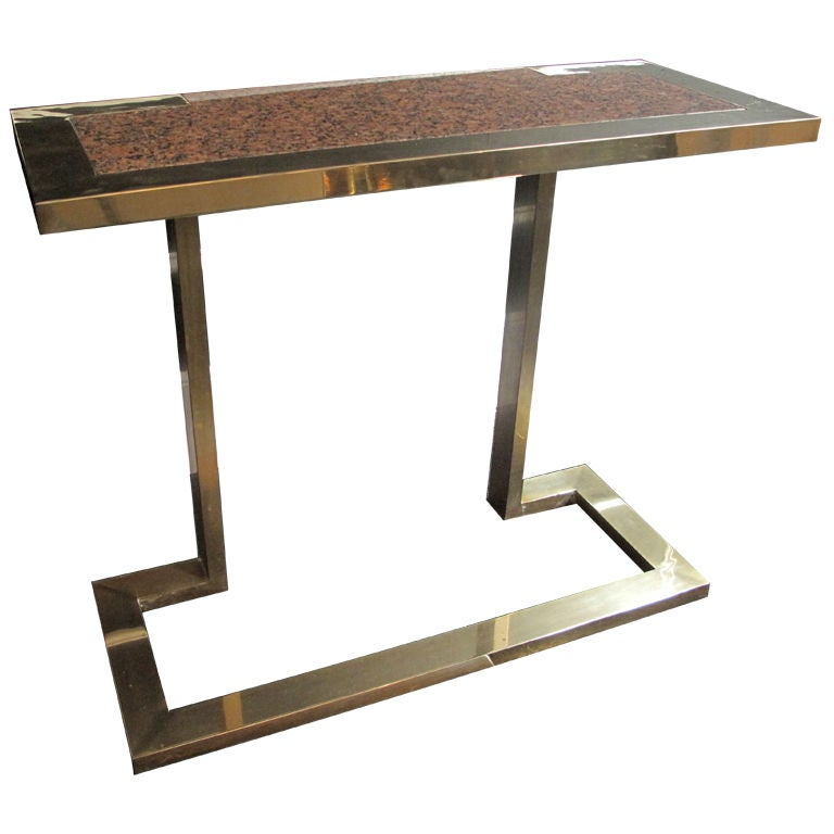 Console Tables With Picture Frames ~ Vintage brass frame console table with granite inset at