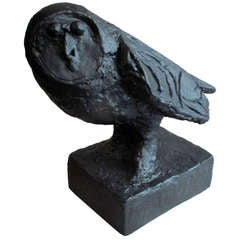 Large Cast Resin Owl Sculpture in the Style of Picasso