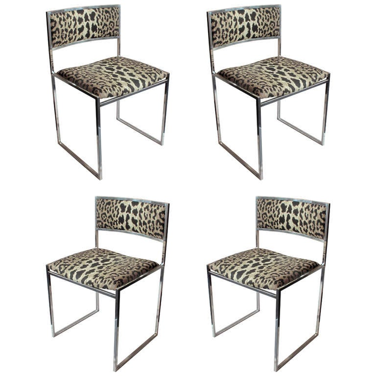 Set Of Four Chrome Frame Dining Chairs With Leopard Upholstery At 1stdibs