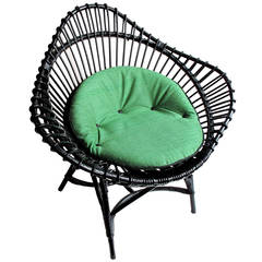 1950's Black Wicker Chair with Custom Green Buttoned Cushion